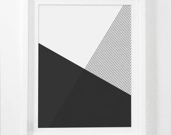 Geometric Art, Minimalist Home Decor, Geometric Print Art, Black and White Geometric Art, Black and White Home Decor, Black Home Decor