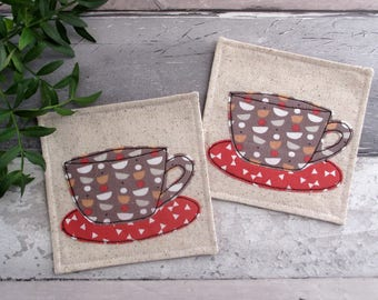 Fabric Coasters, Coffee Coasters, Housewarming Gift, Gift For A Coffee Lover, Applique Coasters, Cup Coasters, Textile Coasters
