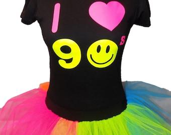 I Love 90s Neon Rainbow Tutu Skirt 90's Flo Fancy Dress T-Shirt Set Hen Party