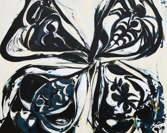 PUCCI BUTTERFLY, Huge Art, Blue and White, Indigo Art, Blue White Painting, Large Canvas Art, Butterfly Art,XL Art,Indigo Painting Butterfly