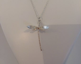 Medium Dragonfly Pendant - Sterling Silver