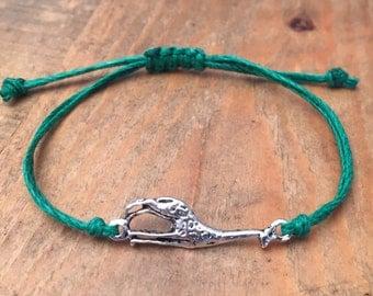 Giraffe Silver Metal Charm Bracelet with Hemp Cord