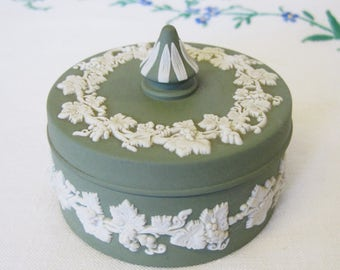 Wedgwood, Cream on Celadon Green Jasperware, Trinket Box with Lid, Grapevine Decoration, Small Circular Jewellery Box