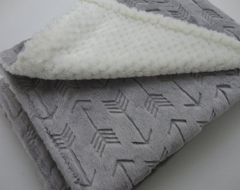 Silver Arrow and Ivory Minky Baby Blanket - Made to Order