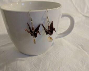 Brown Origami Crane Earrings