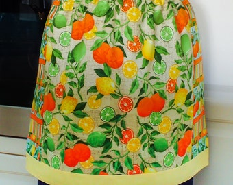 Womens Half Apron, retro kitchen baking apron, lined cotton housewife hostess cooking apron with oranges, lemons & limes print, Mum gift