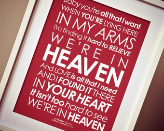 DJ Sammy - Bryan Adams 'Heaven' Lyrics print. Option to add PERSONALISED MESSAGE [Digital file, Print or Framed] Free-Delivery!