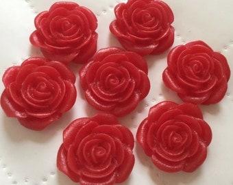 6 pcs 21 mm Red Rose Cabochon Flowers.Matte Finish,flat back flower,21 mm red rose cabochon,21 mm crimson cabochon flower,flower kit