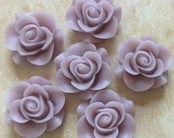 6 pcs 19 mm Thistle Rose Cabochon Flowers.Matte Finish,flat back flower,21 mm thistle rose resin flower,lavender cabochon flower,flower kit