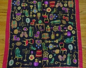 Vintage Large Silk Scarf, Louis XIV, Antique Furniture, Candelabras, Jewels, Mint