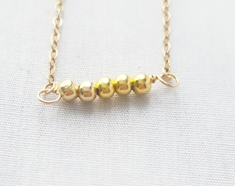 Dainty Gold Bead Bar Layering Necklace, Minimalist gold chain necklace, bar necklace