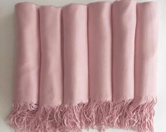 Pashmina Shawl  Blush- Pale Pink - Bridesmaid Gift, Wedding Favor, Bridal party gift - Monogrammable