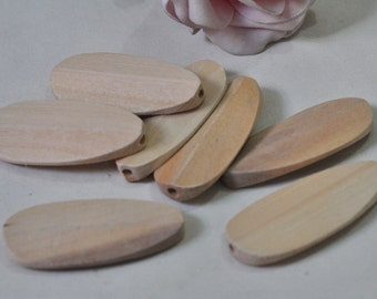 15pcs Natural Wooden Beads Oval Shaped Unfinished Ellipse Wood Bead Necklace Curved 49x22mm MT1124