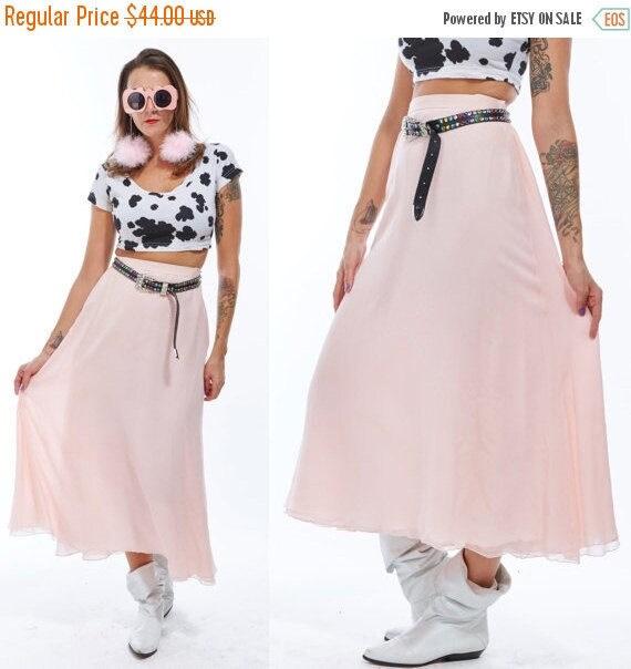 Vtg 80s 90s Baby Pink High Waisted Skirt Chic Minimal Semi Sheer Babydoll Boho Avant Garde separates Babydoll Grunge Sea Punk Pastel Goddess