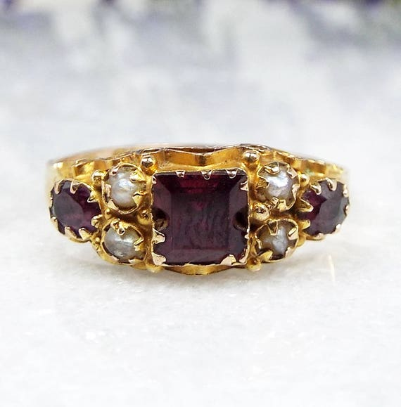 Antique 1867 Victorian 9ct Gold Garnet Seed Pearl and Amethyst Ring / Size Q