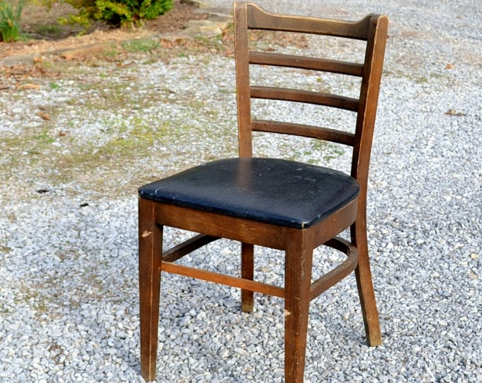 Vintage Bianco Bentwood Chair Mid Century Dining Chair Black Upholstered Seat Ladderback Bianco Manufacturing Co PanchosPorch