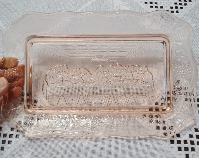 Vintage Pink Glass Dish The Last Supper Serving Plate Indiana Glass Decorative Plate PanchosPorch