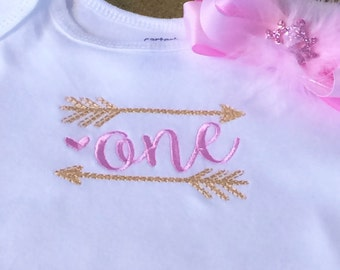 Baby Girl 1st Birthday Onesie / Wild One Pink and Gold 1st Birthday Onesie, Pink and Gold,First Birthday, Ones Year Old, 1st Birthday