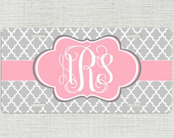 Front License Plate, Lattice Pink Grey Car Tag, Monogram License Plate Car Tag, Personalized License Plate Chevrons 9318
