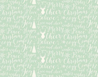 Comfort and Joy - Words Light Green by Design by Dani for Riley Blake Designs, 1/2 yard, C6264-Lt Green