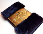 SALE Genuine leather hand painted and decorated with rhinestones and genuine fur clutch