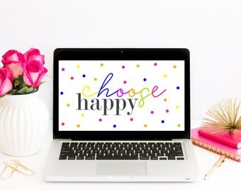 Choose Happy Laptop Wallpaper|Desktop Goods|Desk Accessory|Work Desk Decor|Modern Desktop Decor|Cute Office Decor|Cubicle Decor|Home Office