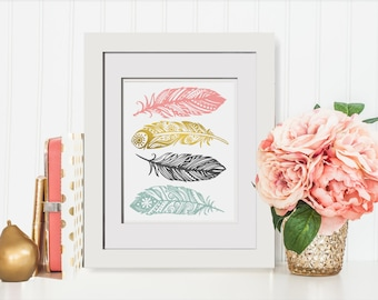 Mint Peach Feather Printable|Kids Boho Art|Mint Peach Nursery|Peach Mint Wedding|Faux Gold Foil Print|Pastel Pink Wall Art|Cubicle Accessory