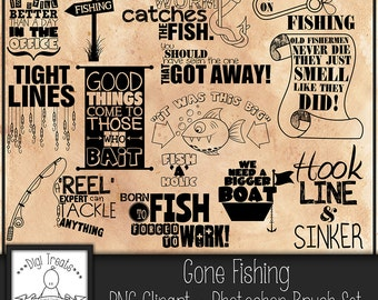 50% OFF~Gone Fishing Word Art, Scrapbooking, Card making, Photo Overlay Word Art, Fishing Themed, Fun Quotes & Phrases,