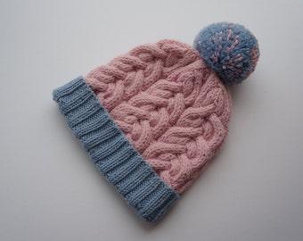 Made to Order: Chunky knit hat, winter hat,thick hats, big pom pom, pompom hat, kids hat, girls hat, girls beanie,  beanie, arran hat
