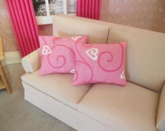 Miniature dolls house 12th scale rectangular modern sofa or scatter cushion pack pink hearts  set of two