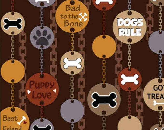 DOG-GONNIT! - Dog Tags in Brown - Cute Puppy Dog Cotton Quilt Fabric - by Kanvas Studios for Benartex Fabrics - 8130-77 (W3783)