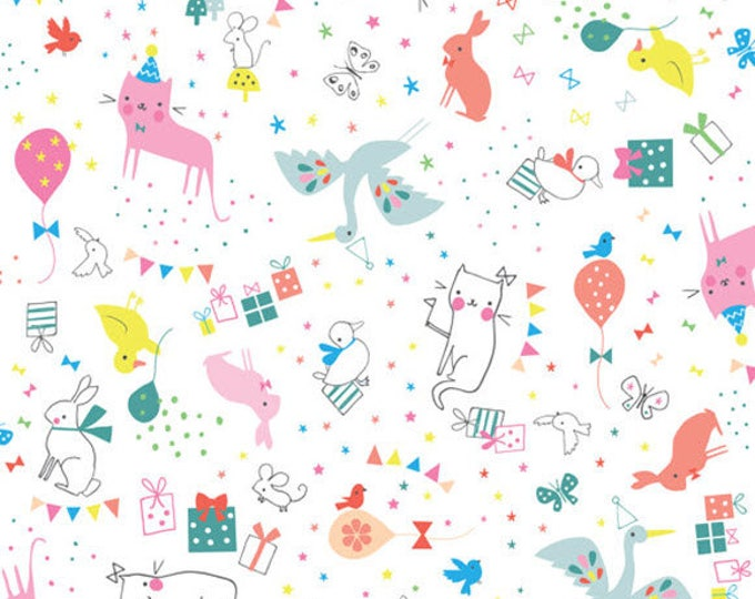 HIP HOORAY - Party Animal in White - Cats Bunnies - Cotton Quilt Fabric - by Lizzie Mackay for Blend Fabrics - 121.101.02.2 (W3792)