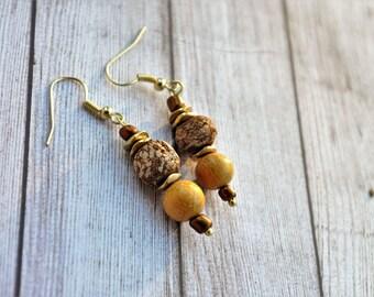 Ethnic Jewelry Dangle Earrings Artsy Earrings  Boho Jewelry Hippie Earrings Summer Earrings Yoga Earrings Grounding Earring Tribal Jewelry