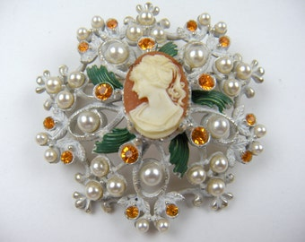 Signed Florenza Cameo Brooch