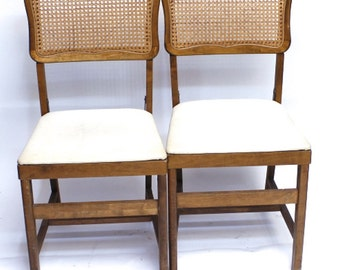 Pair of Vintage caned back MCM french Country folding chairs ON SALE!