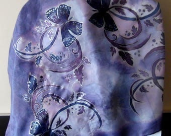 Lilac silk scarf with purple butterflies