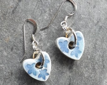 Heart-shaped handmade ceramic and sterling silver drop earrings in turquoise and blue