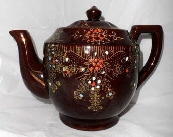 Vintage Redware Brown Betty Teapot-Moriage Enameled Tea Pot-Old Made in Japan-Brown Glaze-Gold Trim-Tea Party-Orphaned Treasure-020717D