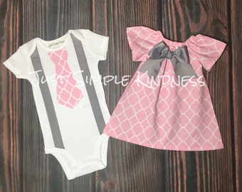 Baby Boy & Baby Girl Twin Outfit. Easter Outfit. Twin Outfit. Boy Girl Twins Outfit. Pink and Gray outfit, quatrefoil outfit, summer outfit,