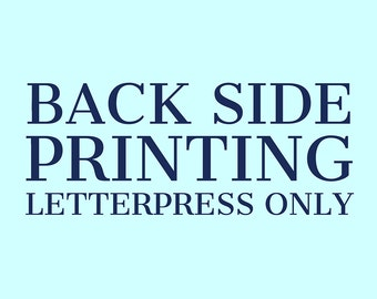 Back Side Letterpress Printing Add-On Service