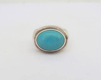 Vintage Sterling Silver Oval Turquoise Bold Ring Size 8