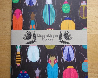 Bugs and beetles pattern notebook graphic print A5