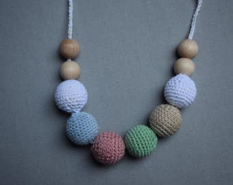 Crochet Nursing Necklace/Breastfeeding Necklace / Teething necklace with crochet beads colotful beads/ nursing necklace/ handmade beads