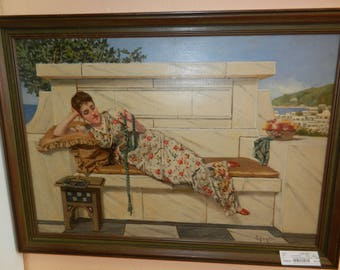 Original oil painting of a lady reclining by S. Cowen RBA