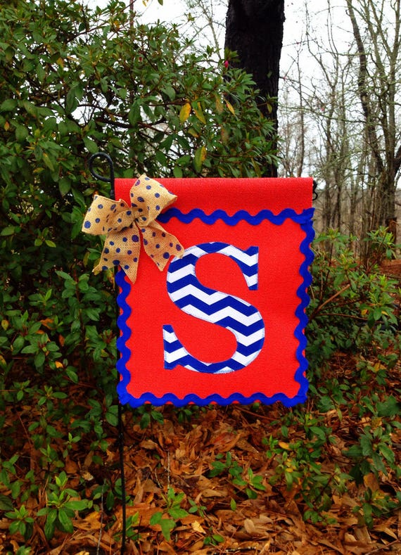 Red Vinyl Garden Flag With Chevron Initial Garden Flag