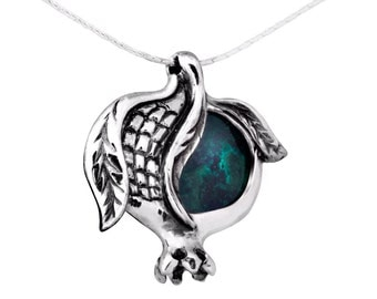 Sterling Silver Pendant Blue Green Eilat King Solomon Stone Pomegranate Necklace