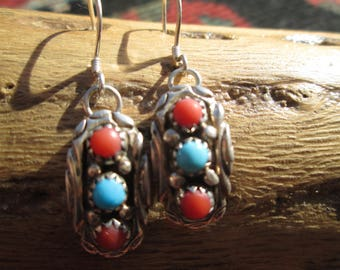 Native American Turquoise, Coral and Sterling Dangle Earrings