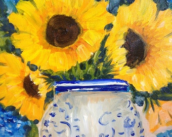 "Original oil painting ""golden sunflowers"" still life ,yellow sunflowers,  10 by 10"