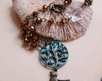 Patina pendant bird charm necklace Antiqued inspired crystal necklace