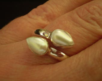 White Freshwater Pearl (Natural) 925 Sterling Silver Ring Size 8.75